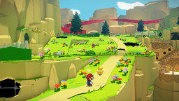 Mario and Olivia in Picnic Road in Paper Mario: The Origami King