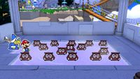 Mario finds the Spring of Sanctuary occupied by many Origami Goombas in Paper Mario: The Origami King