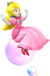 Artwork of Princess Peach on a bubble, from Mario Party: Island Tour.