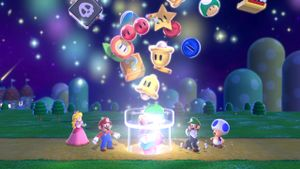 Hidden Luigis in the intro to Super Mario 3D World.