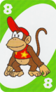 The Green Eight card from the UNO Super Mario deck (featuring Diddy Kong)