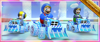 """The """"Celebrating the Frost Tour with the Ice Dozer!"""" Pack from the Frost Tour in Mario Kart Tour"""