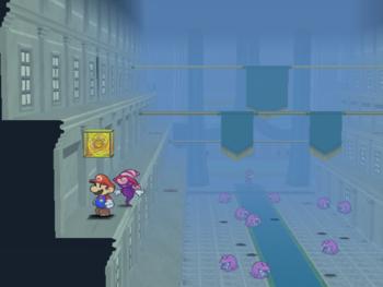 Mario next to the Shine Sprite in Poshley Sanctum in Paper Mario: The Thousand-Year Door.