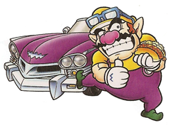 Wario in front of his Wario Car while carrying a hot dog.