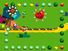 Yoshi and Poochy in the level Treasure Hunt.
