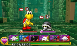 Screenshot of World 3-Tower, from Puzzle & Dragons: Super Mario Bros. Edition.