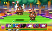 Screenshot of World 5-3, from Puzzle & Dragons: Super Mario Bros. Edition.