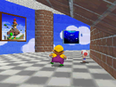 The gallery on the upper floor in Peach's castle
