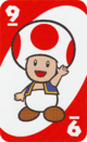 The Red Nine card from the UNO Super Mario deck (featuring Toad)
