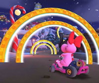 The icon of the Baby Peach Cup challenge from the 2020 Winter Tour in Mario Kart Tour