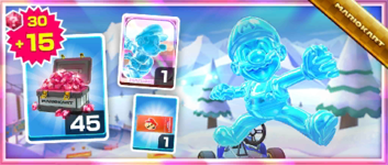 The Ice Mario Pack from the Snow Tour in Mario Kart Tour