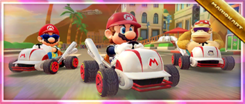 """The """"Celebrating the Los Angeles Tour with the Cleanup Hitter!"""" Offer from the 2021 Los Angeles Tour in Mario Kart Tour"""