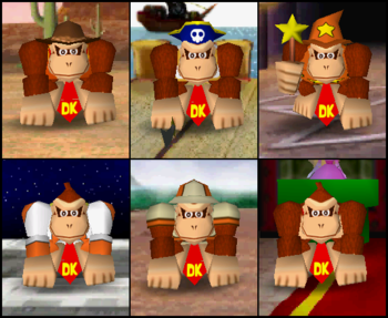 Donkey Kong's outfits in the game Mario Party 2.