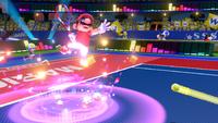 Mario performing an Ultra Smash in an earlier version of Mario Tennis Aces