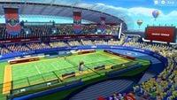 A screenshot of the Marina Stadium (Grass) Court in Mario Tennis Aces