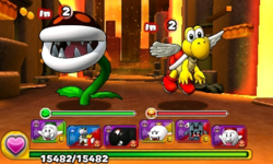 Screenshot of World 7-11, from Puzzle & Dragons: Super Mario Bros. Edition.