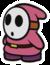 A pink Shy Guy in Paper Mario: Color Splash.