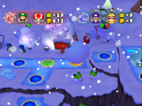 A snowball event in Snowflake Lake from Mario Party 6