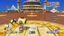 Toadsworth prepares to bat in Mario Super Sluggers.