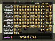 The totals screen, displaying all currently collected Shine Sprites for each level in the game.