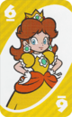 The Yellow Six card from the UNO Super Mario deck (featuring Princess Daisy)