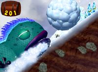 Iguanagon chasing Donkey Kong and Hoofer in the level Silver Snow Peak of Donkey Kong Jungle Beat.