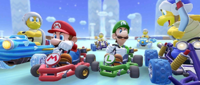 Mario, Luigi, Boomerang Bro, Fire Bro, Ice Bro and Hammer Bro participating in the Frost Tour's 2-Player Challenge in Mario Kart Tour