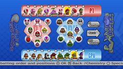 The Offense/Defense Setup screen from Mario Super Sluggers.