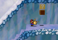 The hidden blocks containing an Ultra Shroom in Shiver Mountain and outside Peach's Castle