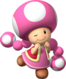 Artwork of Toadette from Mario Party 7 (also used in Mario Party DS, Mario Kart Wii and Mario Super Sluggers)