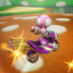 Toadette performing a Trick in Mario Kart Wii