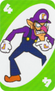 The Green Four card from the UNO Super Mario deck (featuring Waluigi)