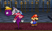 Mario and Vivian glowering at Shadow Queen, with the Shadow Sirens (Doopliss included) watching, in the Palace of Shadow.