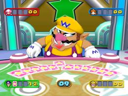 Wario in Deck Hands from Mario Party 7