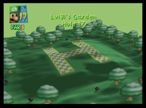 The seventeeth hole of Luigi's Garden from Mario Golf (Nintendo 64)