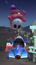 Pink Shy Guy performing a trick.