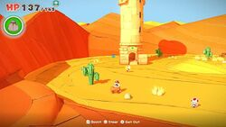 A view of Scorching Sandpaper West from Paper Mario: The Origami King