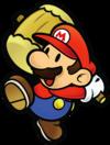 Mario swinging the Hammer in Paper Mario: The Thousand-Year Door.