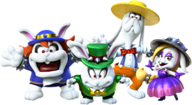 Artwork of the Broodals (from left to right: Spewart, Topper, Rango, and Hariet) from Super Mario Odyssey.