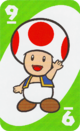 The Green Nine card from the UNO Super Mario deck (featuring Toad)