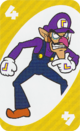 The Yellow Four card from the UNO Super Mario deck (featuring Waluigi)