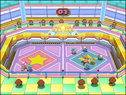 Wario and Toadette in Weight for It in Mario Party 7