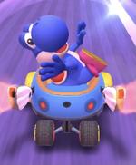Blue Yoshi performing a trick.