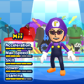 Waluigi Mii Costume in the game Mario & Sonic at the London 2012 Olympic Games for the Wii.