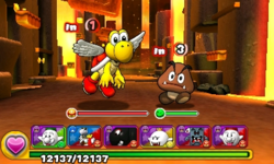Screenshot of World 3-6, from Puzzle & Dragons: Super Mario Bros. Edition.