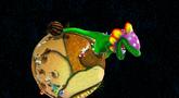 A screenshot of Mario fighting Dino Piranha.