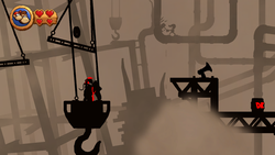 Mr. Game & Watch's cameo appearance at Foggy Fumes, where he can be seen hammering a pipe in the background.
