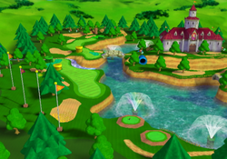 View of Peach's Castle Grounds in Mario Golf: Toadstool Tour.