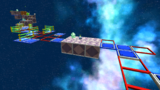 """A screenshot of Flip-Swap Galaxy during the """"Think Before You Shake"""" mission from Super Mario Galaxy 2."""