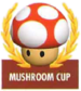 Mario Kart: Super Circuit promotional artwork: The Mushroom Cup emblem.
